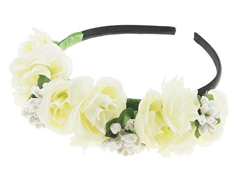 Filles Floral mariée demoiselle d'honneur en mousseline fleur bandeau aliceband Crème
