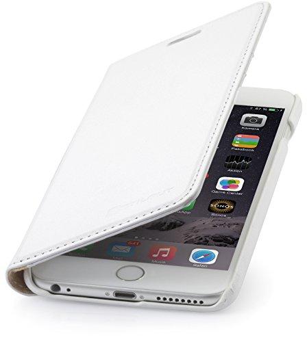 """StilGut Talis, Wallet-Case Schutz-Hülle für iPhone 6s Plus (5.5"""") mit Kreditkarten-Fächern aus echtem Leder. Seitlich aufklappbares Flip Case in Handarbeit gefertigt für das Original Apple iPhone 6s P Weiß"""