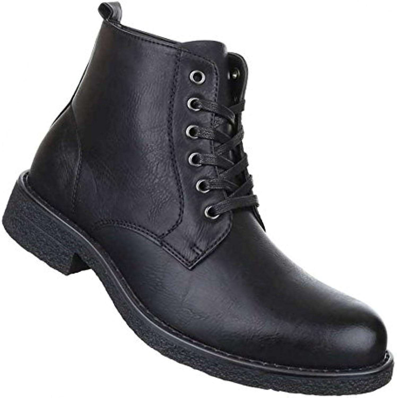 Herren Boots Schuhe Schnür Stiefel Schwarz 40 41 42 43 44 45