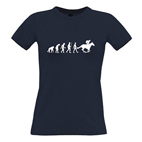 Tim And Ted Sport Frauen T-Shirt Evolution of Reiten Reit Navy Blue XX-Large