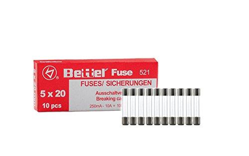 Sicherung 10A flink 5x20mm 250V Typ 521 10er Päckchen Feinsicherung Glassicherung G-Sicherung -