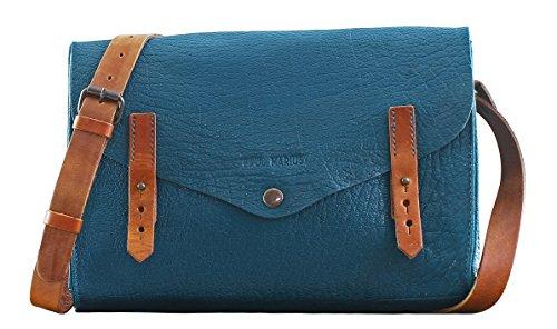 L'INDISPENSABLE Pool Blau Büffelleder Handtasche Vintage Style PAUL MARIUS (Farbe änderung Saphir)