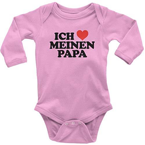 Mama Kostüm Ich Meine Liebe - Mikalino Babybody mit Spruch für Jungen Mädchen Unisex Langarm Ich liebe meinen Papa | handbedruckt in Deutschland | Handmade with love, Farbe:rosa, Grösse:56