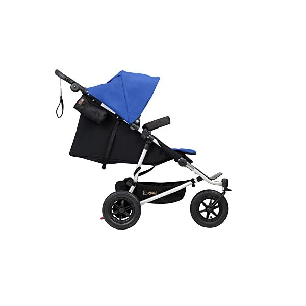 "Mountain Buggy Duet v3 Double Stroller - Marine Mountain Buggy With a wheelbase width of just 63cm/25"": duet is the same width as a single buggy: and fits seamlessly through doorways Hand operated control brake for slowing down: providing additional confidence and superior handling when pushing the extra weight of two Superior compact one hand fold: with automatic frame lock and stand fold 12"