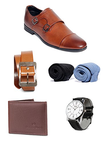 Bacca Bucci Men Combo Pack Of 5 : Formal Shoes:7 , Watch , Wallet, Belt, Socks