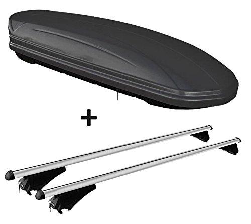 VDP Dachbox schwarz matt MAA 460M Auto Dachkoffer 460 Liter abschließbar + Alu-Relingträger Dachgepäckträger für aufliegende Reling im Set für BMW X3 F25 ab 10