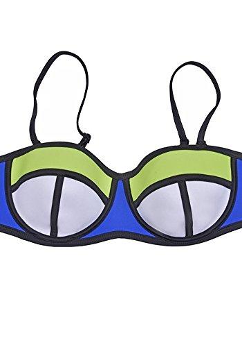 Botobkn Donne a Mosaico in Neoprene Costume Bikini Blue