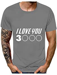 Thanks Tony,I Love You 3000 (3 Thousand) Printing Mans Tees Iron Man,Avengers Endgame Superheroes Fans T Shirt for Man Couple Round Neck Slim Fit Short Sleeve Top Shirt Blouse