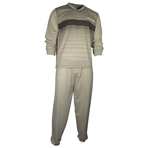 Herren Schlafanzug Pyjama Zweiteiler lang 2-tlg mit V-Ausschnitt in 6 Farben - Qualität von Lavazio®, Größe:M, Farbe:beige