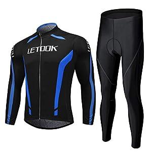Letook Maillot de Ciclismo Ropa Ciclismo Conjunto para Hombre Culotte Manga Larga+ Pantalones 100209 L
