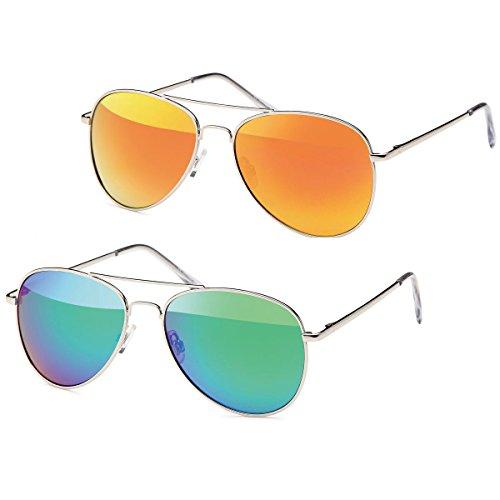 2x Sonnenbrille Pilotenbrille Aviator Unisex Klassiker Sonnen Brille -PL15 (azurrot-grün)