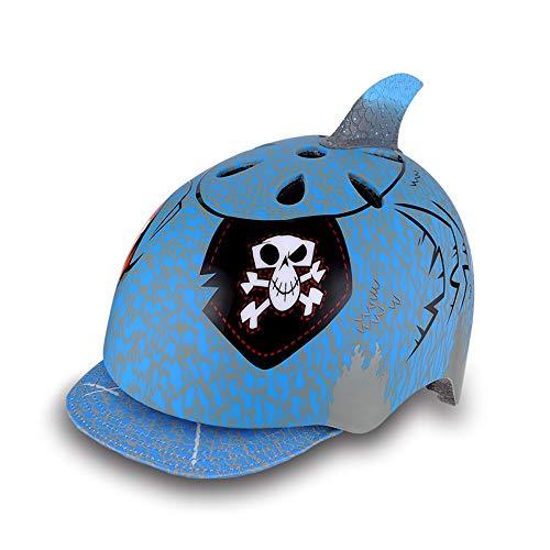 Casco Bici Ideale per Bambini e Adolescenti Caschi Perfetto per Downhill Ciclismo MTB Scooter Helmet,CPSC,Certificazione CE UE Circonferenza 48-54cm Taglia 25 * 21cm Cappello squalo