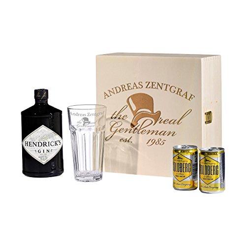 in & Tonic Geschenk-Set mit Hendricks - Longdrink-Glas in Geschenkbox Gin-Glas Personalisiert mit Gravur - Motiv The real Gentleman ()