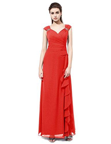 Dresstells Robe de demoiselle d'honneur Robe de cérémonie emperlée col en V longueur ras du sol Rouge