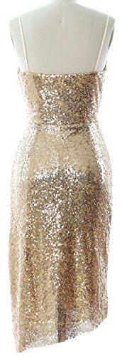 MACloth Tea Length Bridesmaid Dress Sequin V Neck Wedding Party Formal Gown Dark Navy