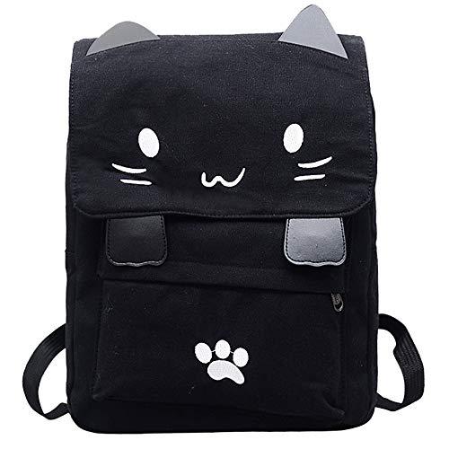 Mujer Bolso mochila escuela lona gato estudiante
