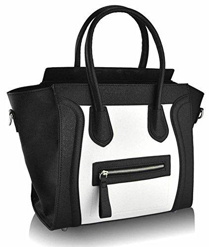 TrendStar - Sacchetto donna, bianco (Z-Black/White Smile Tote Bag), L Z-Black/White Smile Tote Bag