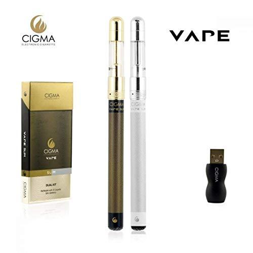 Cigma Vape Slim Doppelpack, 2x Die Kleinste und Dünnste, Auflad- und Nachfüllbare E-Zigarette der Welt, E-Zigarette Starterset, E Shisha, Wiederaufladbare Batterie, Auffüllbar