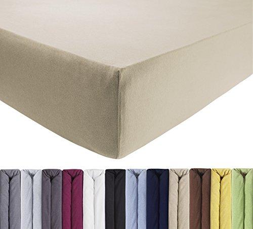 ENTSPANNO Jersey Spannbettlaken für Wasser- und Boxspringbett in Beige | Sand aus Baumwolle. Spannbetttuch mit Einlaufschutz, 180 x 200 | 200 x 200 | 200 x 220 cm, bis 40 cm hohe Matratzen -