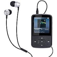 Mini clip Reproductor de MP3 8 GB con Radio FM y Una Funda de Silicona, Pantalla TFT de 1.5 pulgadas, Color Azul- AGPTEK G05
