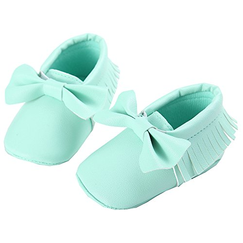 WAYLONGPLUS , Chaussures premiers pas pour bébé (fille) Rouge rouge foncé 13 (12-18 Months) vert clair