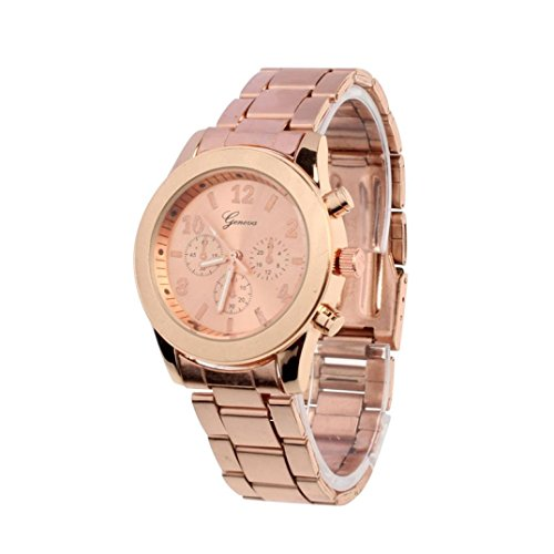 Amsion Señoras muchacha de las mujeres unisex de acero inoxidable cuarzo reloj de pulsera (rosa de oro)