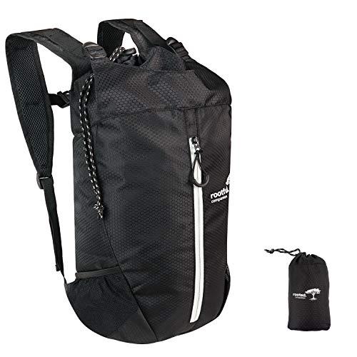 Rooted. Companion Faltbarer Premium Rucksack 25L (neues Modell 2020) - Ultraleichter Rucksack für Outdoor, Reisen, Camping und Wandern - Tagesrucksack/Daypack (Schwarz)