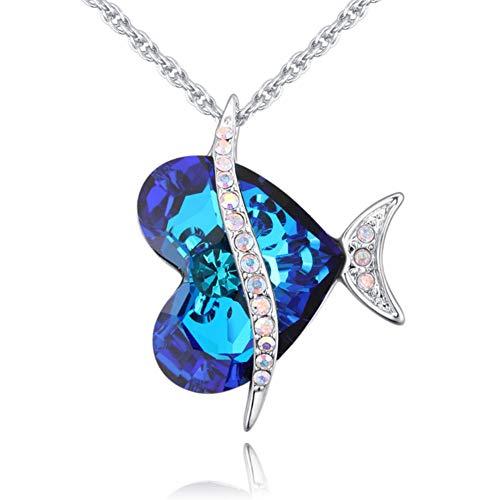 XINGYU Liebesherz-Halskette für Frauen,mit Swarovski Element Kristall Langer personalisierter einfacher Anhänger Schmuck Mode Mädchen Mutter Paare Bester Freund Geschenk, Silver