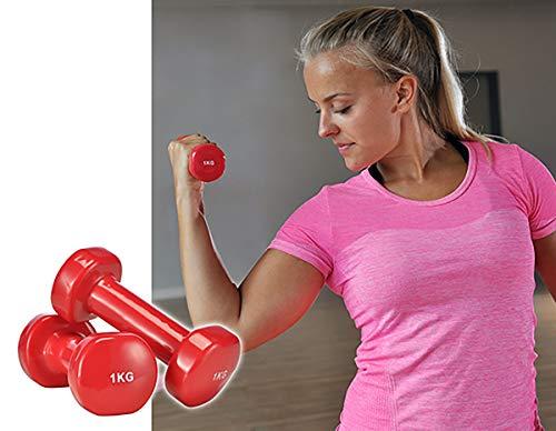GYD Hanteln Gewichte 1 kg Hanteln mit PVC - Überzug (2er-Set) Gymnastik Hanteln Gewichte Hantel-Set Kurzhantel 1kg