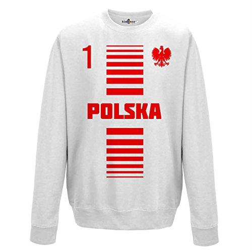 Felpa Girocollo Uomo Nazionale Sportiva Polonia Polska 1 Calcio Sport Europa Aquila 1A KiarenzaFD Streetwear Arctic White