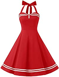 Timormode Vestido Cóctel Corto Vintage 50s Cuello Halter Vestido De Fiesta Rockabilly Mujer