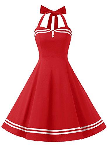 Timormode Rockabilly Kleider Neckholder 50s Vintage Kleid Retro Knielang Kleider Damenkleider...
