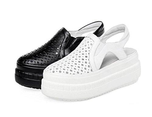 OL Clogs & Maultiere Casual Individualität PU Hohle Plattform Runde Toe Sling Rücken Frauen Komfortable Elegante Schuhe EU Größe 34-39 White