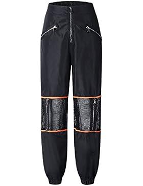 Sevozimda Mujer Casual Pantalones Cargo De Malla con Cremallera Longitud Completa Stich Jogger Pant Pantalón De...