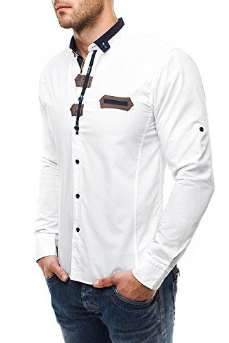 OZONEE Herren Hemd Slim Fit Stehkragen RAW LUCCI 586 Weiß