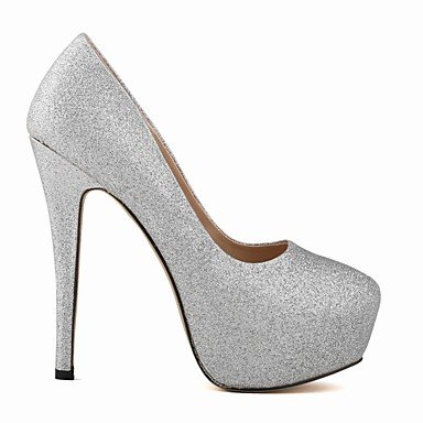 Moda Donna Sandali Sexy donna tacchi Primavera / Autunno tacchi / Piattaforma / Round Toe Glitter Wedding / Party & sera abito / Stiletto Vini spumanti Red