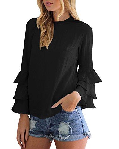 StyleDome Mujer Camiseta Mangas Largas Volantes Lunares Blusa Elegante Noche Casual Oficina 1 Negro EU 42