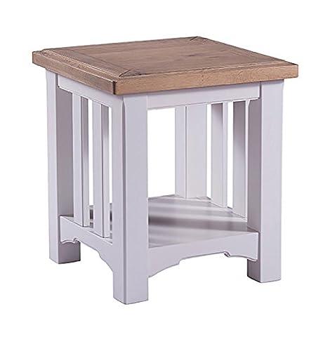 Devon Oak Side Table Oak and Grey Painted Finish   Wooden Lamp Table   Bedside Cabinet