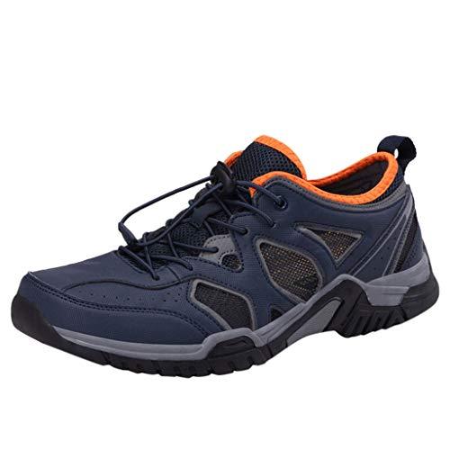 HDUFGJ Herren Trekking- & Wanderhalbschuhe Schnell trocknend Watschuhe rutschfeste Outdoor-Schuhe Bequem Mode Freizeitschuhe Leichtgewicht Faule Schuhe Turnschuhe Fitnessschuhe 40 EU(Dunkel blau)
