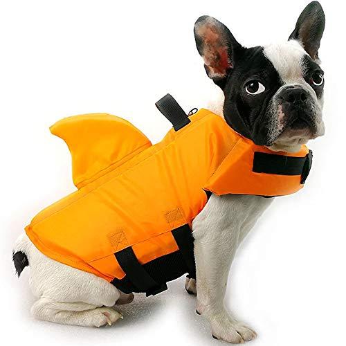 HanDingSM Hundeschwimmweste,Haustier-Schwimmweste,Rettungswesten für Hunde, Hunde Shark Pattern Schwimmweste (M, Orange) -