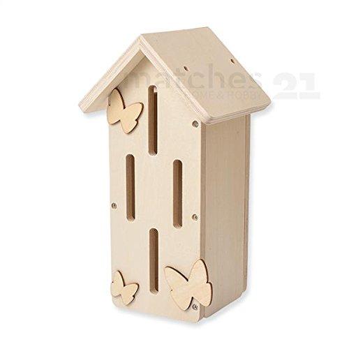 matches21 Schmetterlingshaus Nützlingshotel Holz Bausatz vorgefertigt für Kinder Werkset Bastelset ab 6 Jahren