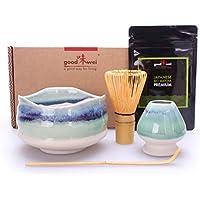 Goodwei Juego de Té Matcha Ceremonial: Tazón de Matcha, batidor de bambú con Soporte y 30g Té de Matcha en Polvo de orgánico 100% Natural (Sumi)