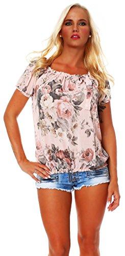 ZARMEXX Damen Bluse Oberteil Shirt Blumenmuster Carmenbluse Kurzarmshirt Viskose *BIG ROSE*, One Size Gr.36-40, Rosa