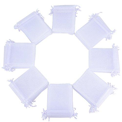 10x12cm 100(±2) Stück Organzasäckchen Weiß Organza Beutel Organza Säckchen Schmucksäckchen Gastgeschenk Säckchen Hochzeit zum befüllen