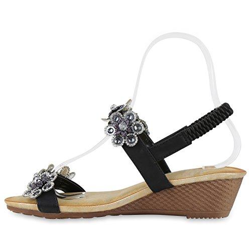 Bequeme Damen Sandaletten Keilabsatz Strass Spitze Wedges Schuhe Schwarz Silber Blumen