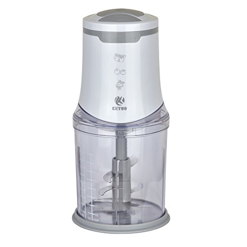 ketuo Mini food Chopper zerkleinerer elektrisch 2 Geschwindigkeiten, Sechs Blade-System) Weiß