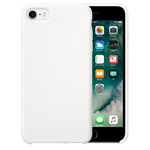 Für iPhone 4,7 Zoll Fall, Für iPhone 8 & 7 Reine Farbe Flüssigsilikon + PC Protective Back Cover Case (4,7 Zoll) ( Color : White )