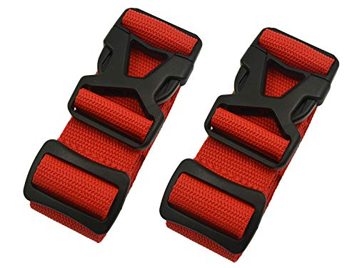 Riemot Koffergurt Kofferband Gepäckgurt Kreuz Koffer Gurte Riemen Verstellbar & Rutschfest 2 Stück Rot