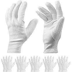 Paquet de 20 Gants en Coton - Gants de Travail Blancs de 9 '' Gants d'hydratation cosmétiques pour Les Mains sèches et l'eczéma, hydratation, Inspection de Bijoux et Plus - Taille Moyenne