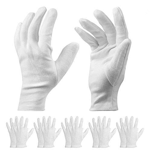 10 Paar Baumwollhandschuhe - 9 Zoll lange mittelgroße weiße Arbeitshandschuhe Kosmetische feuchtigkeitsspendende Handschuhe für trockene Hände Ekzeme, Schmuckinspektion, tägliche Arbeit